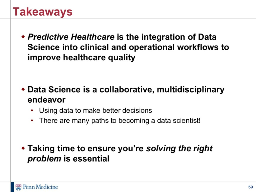 59 Takeaways w Predictive Healthcare is the int...