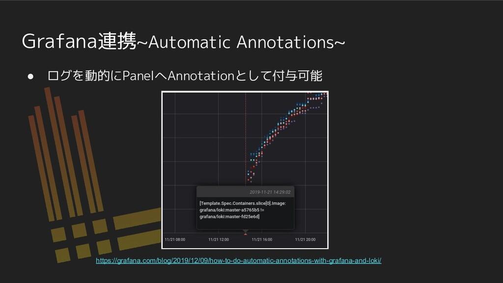 Grafana連携~Automatic Annotations~ ● ログを動的にPanelへ...