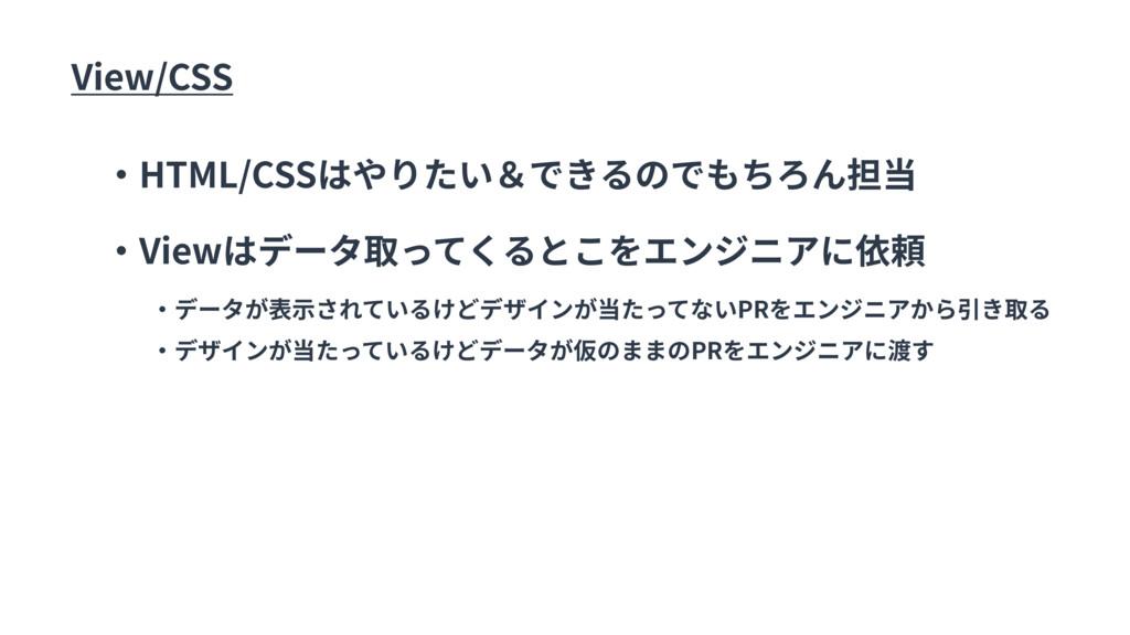 View/CSS ・HTML/CSSはやりたい&できるのでもちろん担当 ・Viewはデータ取っ...