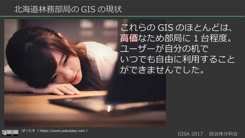 GISA 2017  自治体分科会  北海道林務部局の GIS の現状 これらの GIS のほ...