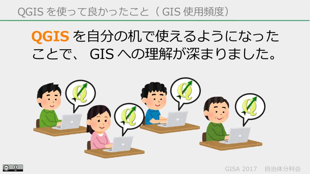 GISA 2017  自治体分科会  QGIS を使って良かったこと( GIS 使用頻度) Q...