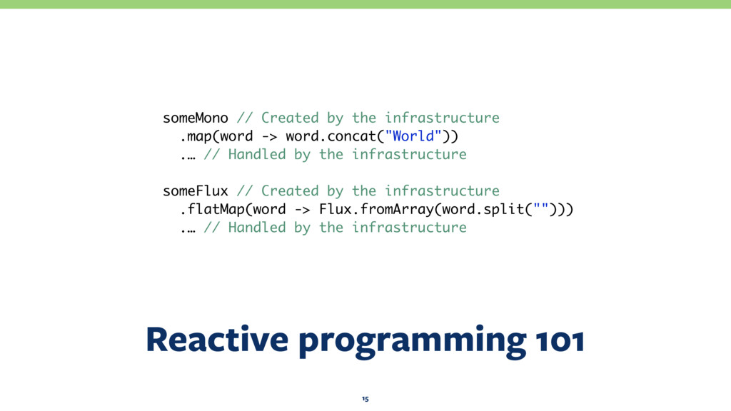Reactive programming 101 15 someMono // Created...