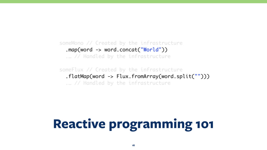 Reactive programming 101 16 someMono // Created...