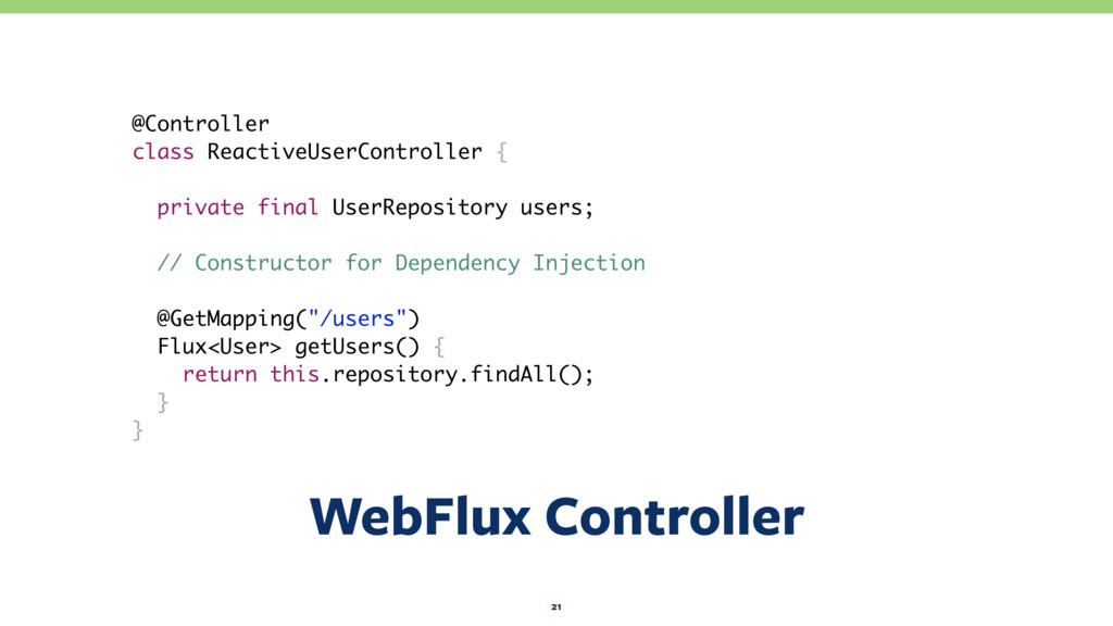 WebFlux Controller 21 @Controller class Reactiv...