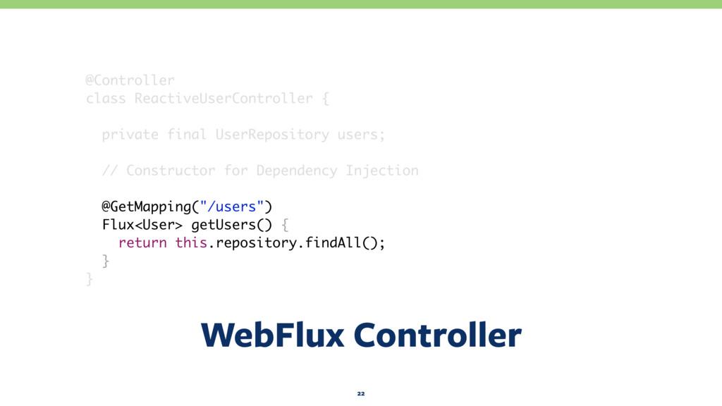WebFlux Controller 22 @Controller class Reactiv...