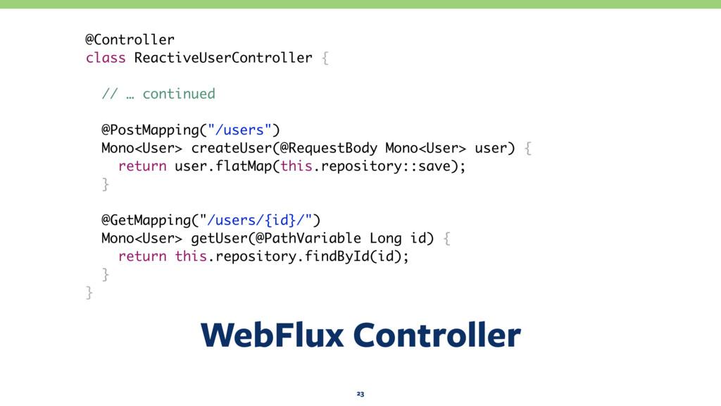 WebFlux Controller 23 @Controller class Reactiv...