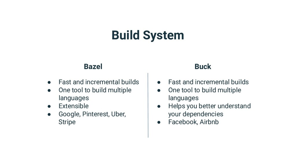 Build System Bazel ● Fast and incremental build...