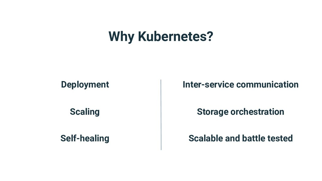 Why Kubernetes? Deployment Scaling Self-healing...