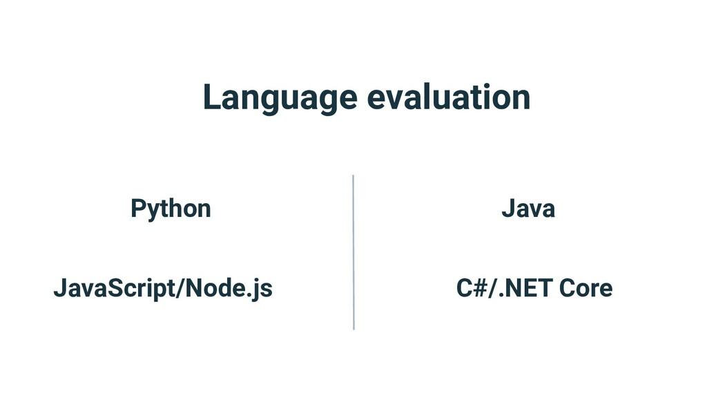 Language evaluation Python JavaScript/Node.js J...