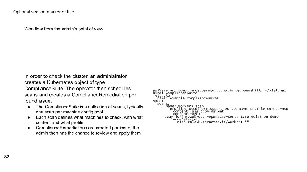 Optional section marker or title Workflow from ...