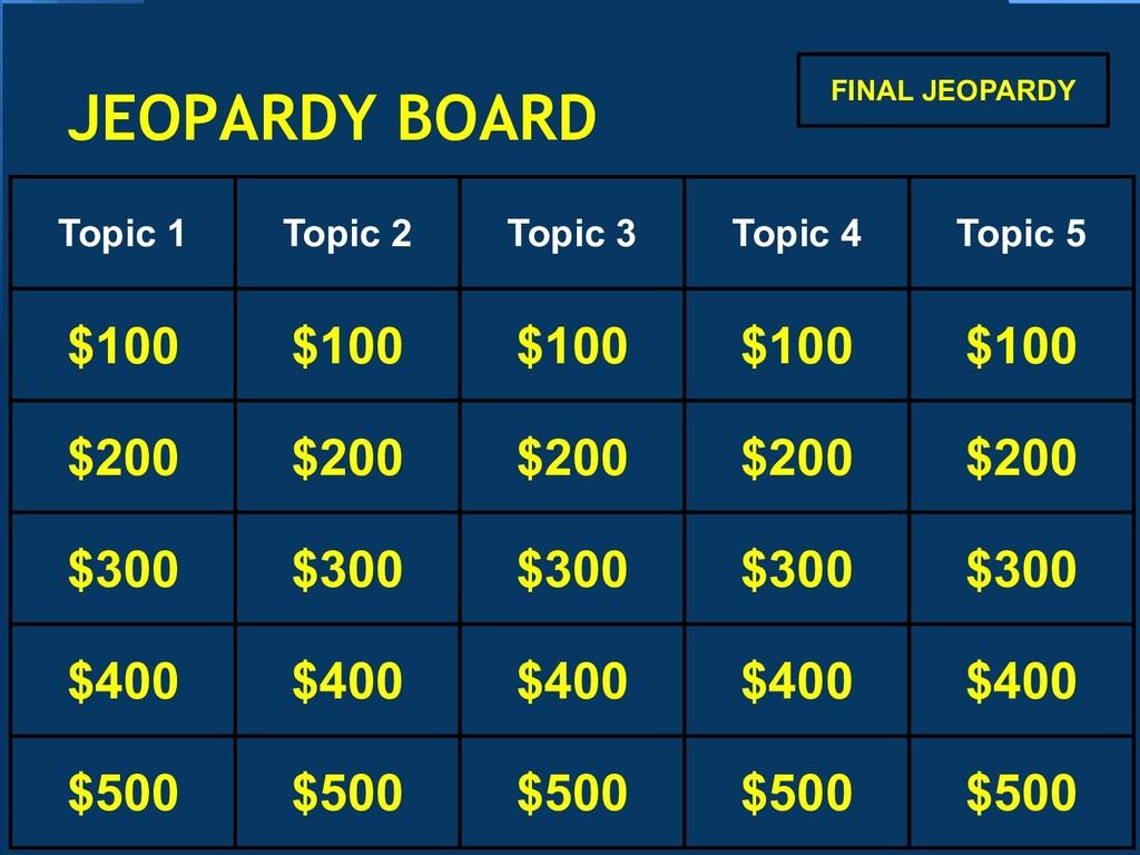 JEOPARDY BOARD Topic 1 Topic 2 Topic 3 Topic 4 ...