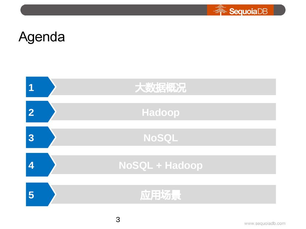 Agenda 大数据概况 1 NoSQL 3 NoSQL + Hadoop 4 Hadoop ...