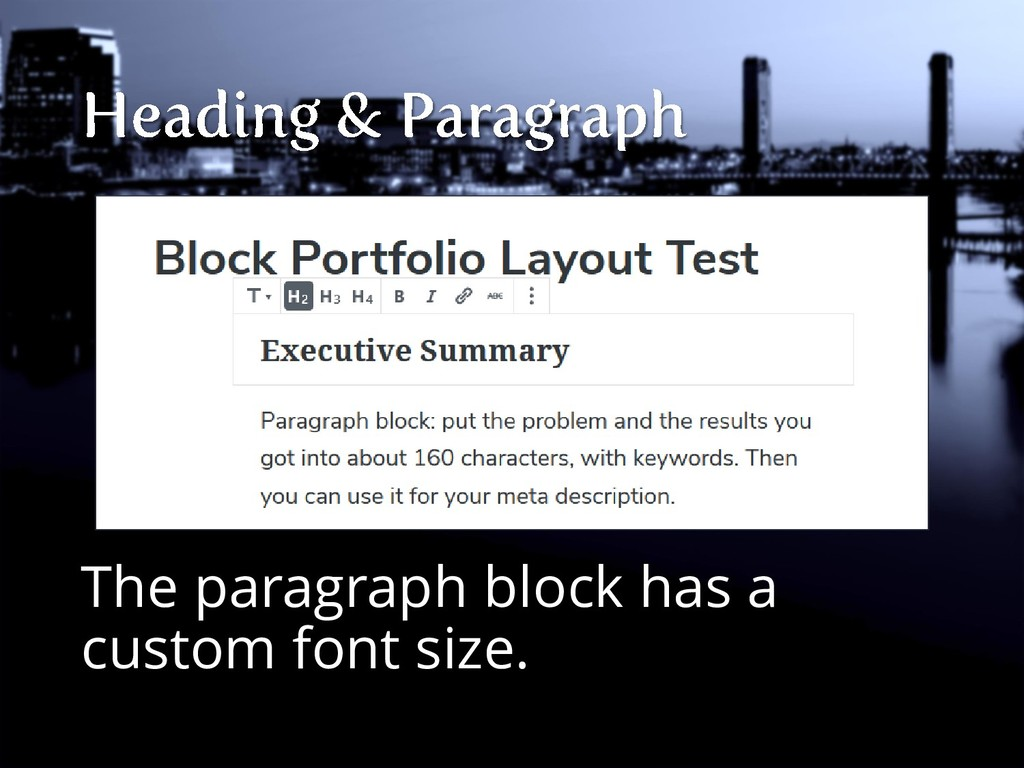 The paragraph block has a custom font size.
