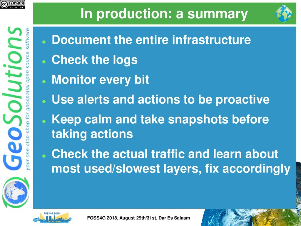 In production: a summary ⚫ Document the entire ...