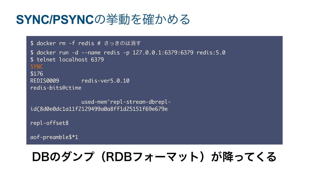 SYNC/PSYNCͷڍಈΛ͔֬ΊΔ $ docker rm -f redis # ͖ͬ͞ͷ...