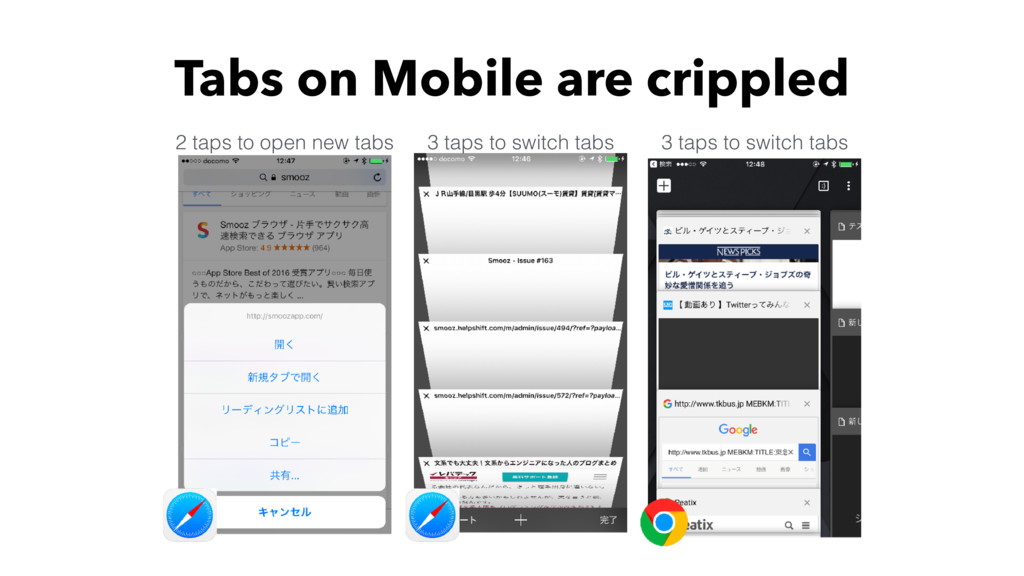 Tabs on Mobile are crippled 2 taps to open new ...