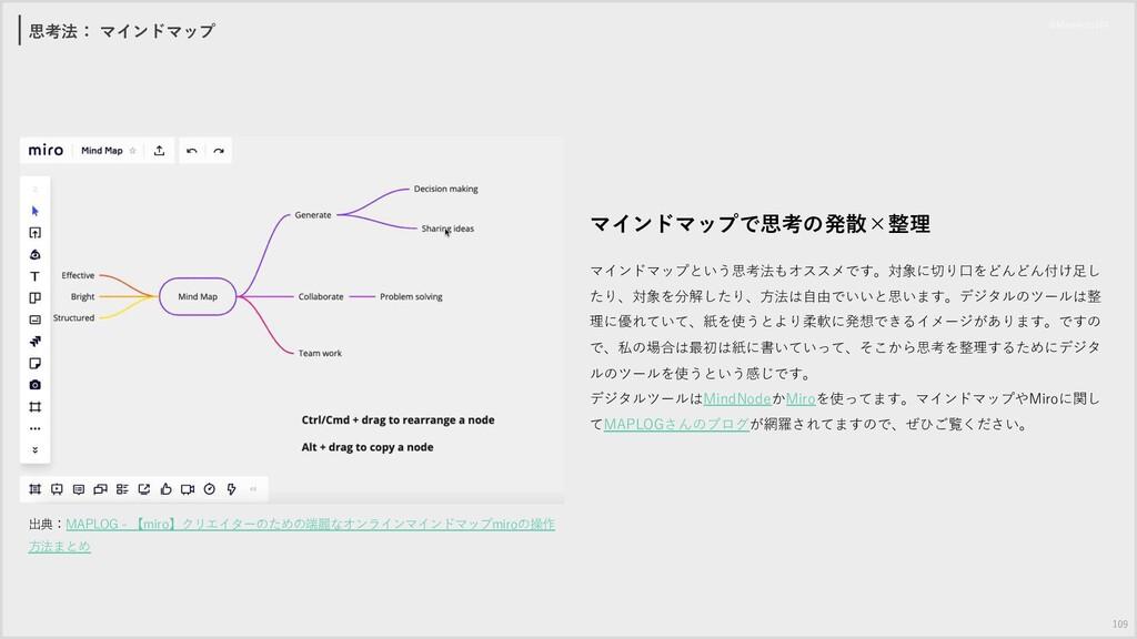 思考法: マインドマップ 109 出典:MAPLOG - 【miro】クリエイターのための端麗...