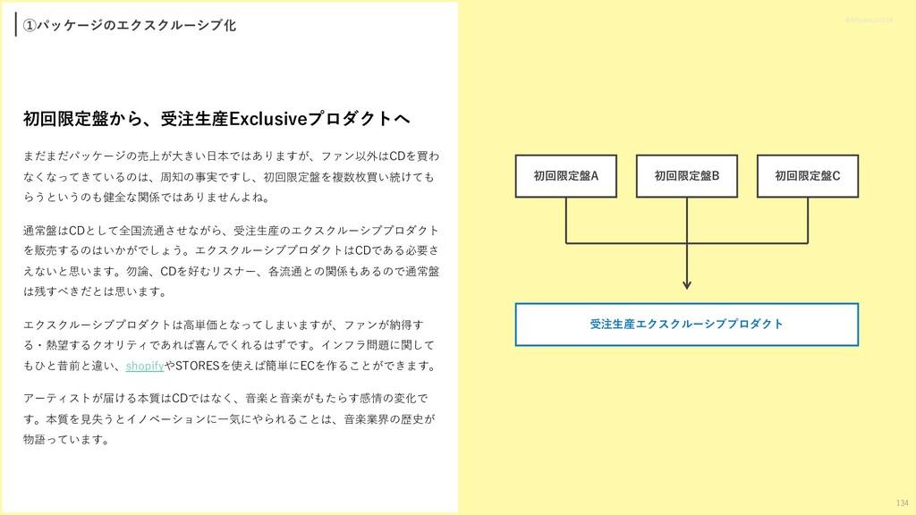 ①パッケージのエクスクルーシブ化 初回限定盤から、受注⽣産Exclusiveプロダクトへ まだ...