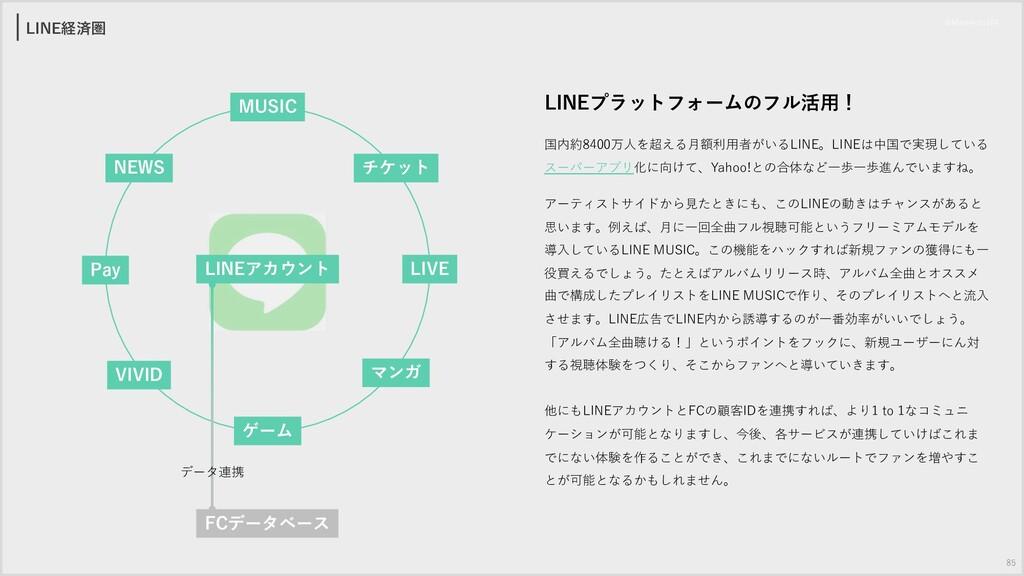 LINE経済圏 LINEプラットフォームのフル活⽤! 国内約8400万⼈を超える⽉額利⽤者がい...
