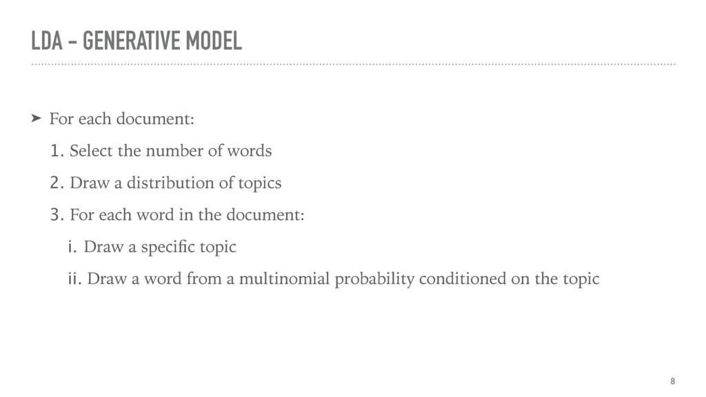 LDA - GENERATIVE MODEL ➤ For each document: 1. ...