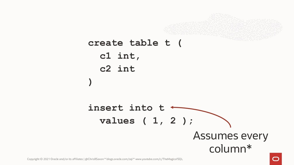 create table t ( c1 int, c2 int ) insert into t...