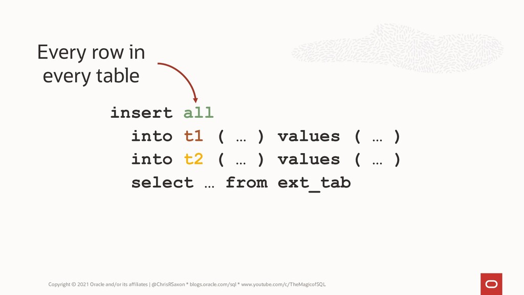 insert all into t1 ( … ) values ( … ) into t2 (...