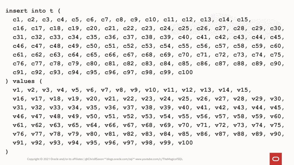 insert into t ( c1, c2, c3, c4, c5, c6, c7, c8,...