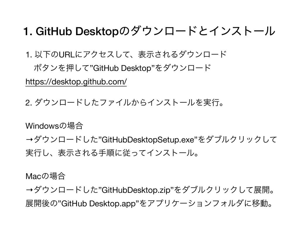 1. GitHub DesktopͷμϯϩʔυͱΠϯετʔϧ 1. ҎԼͷURLʹΞΫηε͠...