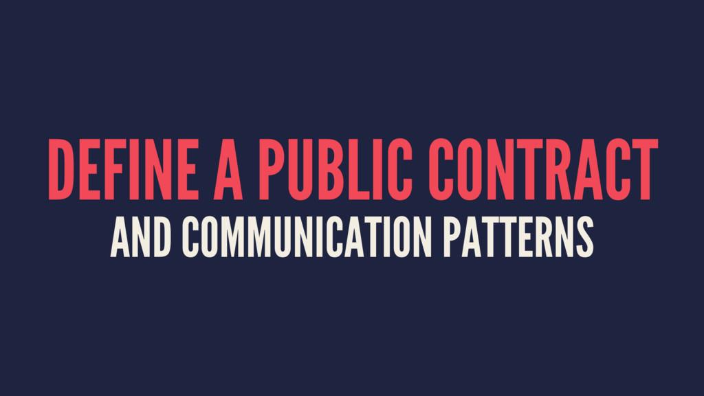 DEFINE A PUBLIC CONTRACT AND COMMUNICATION PATT...