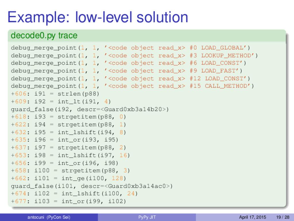 Example: low-level solution decode0.py trace de...