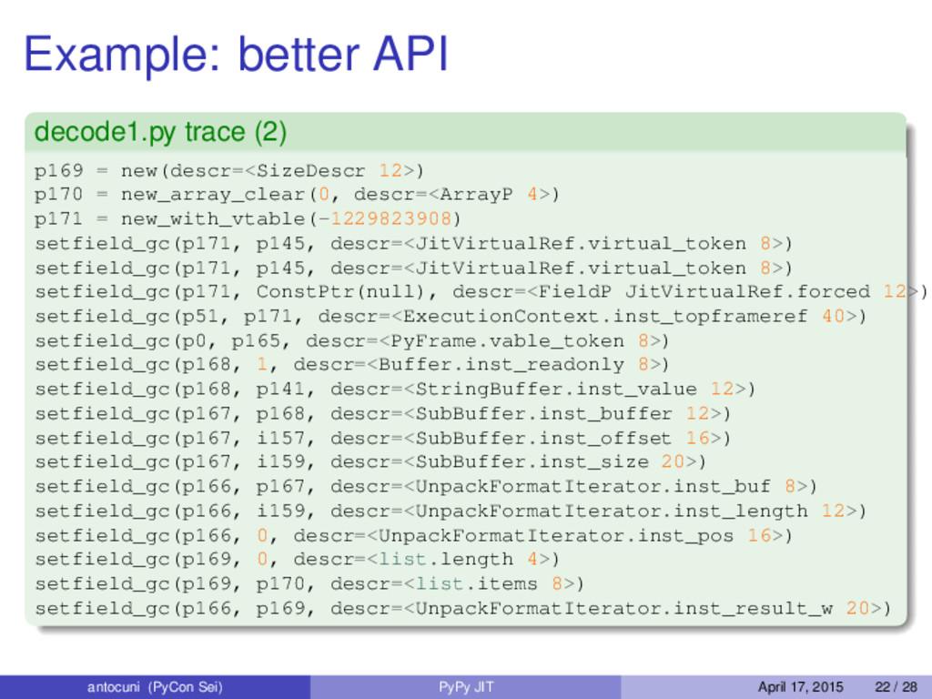 Example: better API decode1.py trace (2) p169 =...