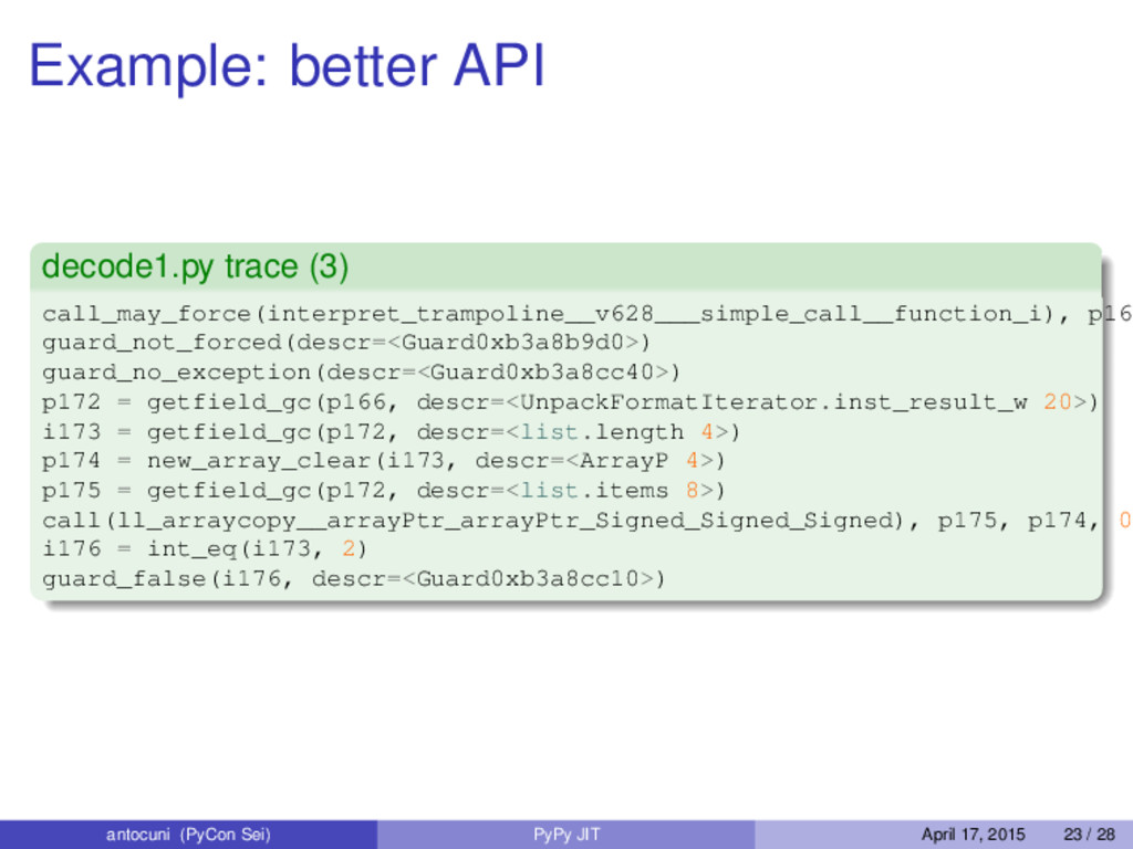 Example: better API decode1.py trace (3) call_m...