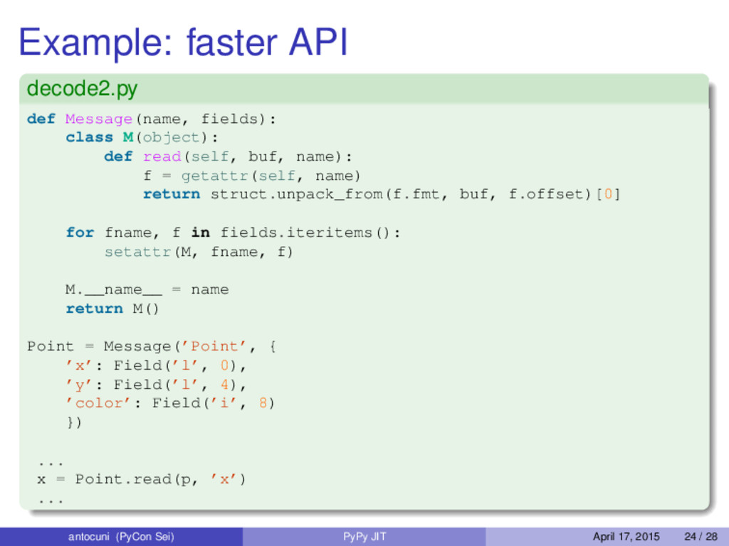 Example: faster API decode2.py def Message(name...