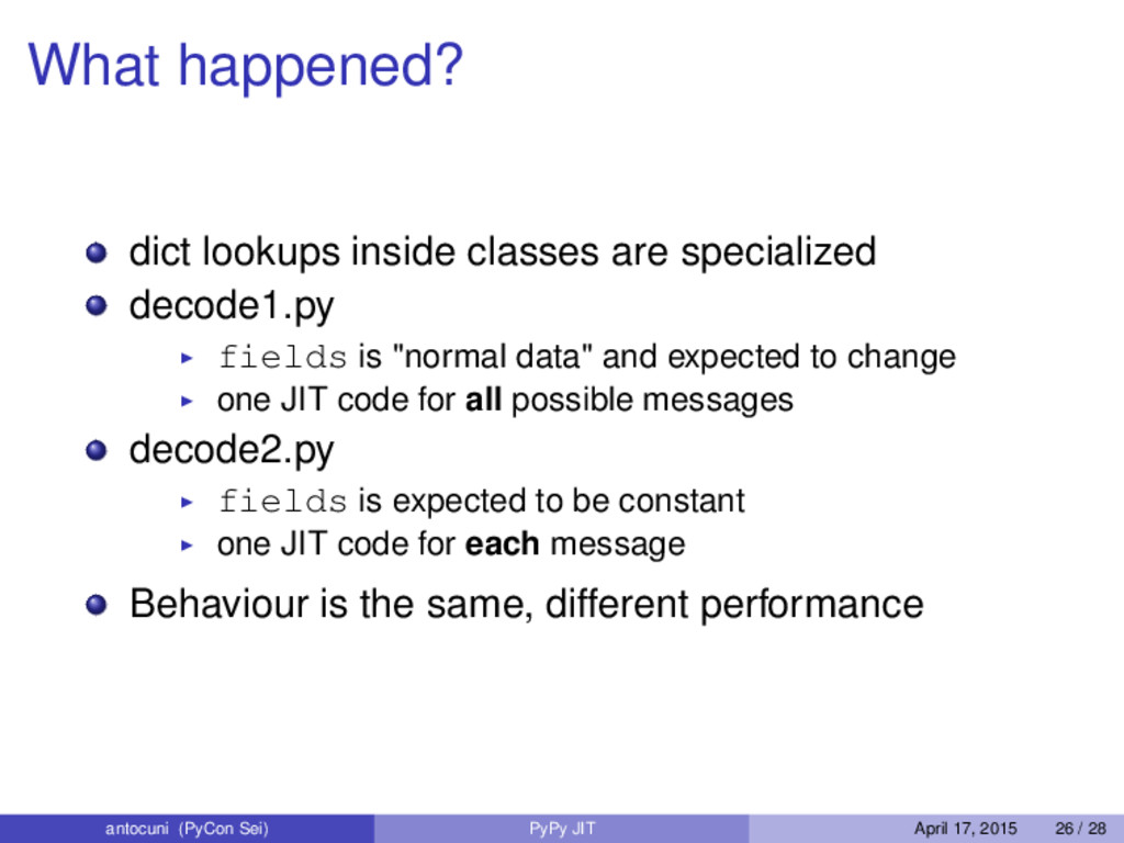 What happened? dict lookups inside classes are ...