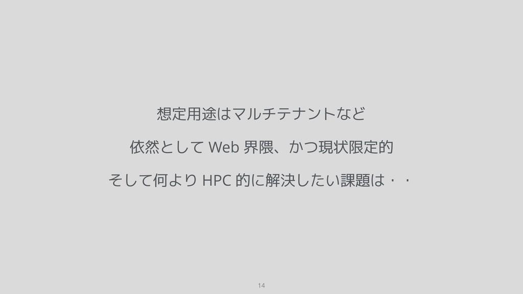 想定用途はマルチテナントなど 依然として Web 界隈、かつ現状限定的 そして何より HPC ...