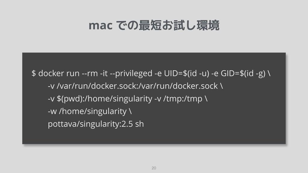 mac での最短お試し環境 !20  $ docker run --rm -it --priv...