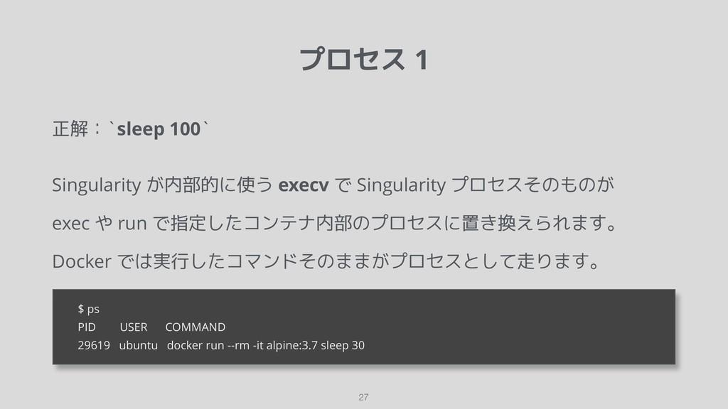 プロセス 1 正解:`sleep 100` Singularity が内部的に使う execv...
