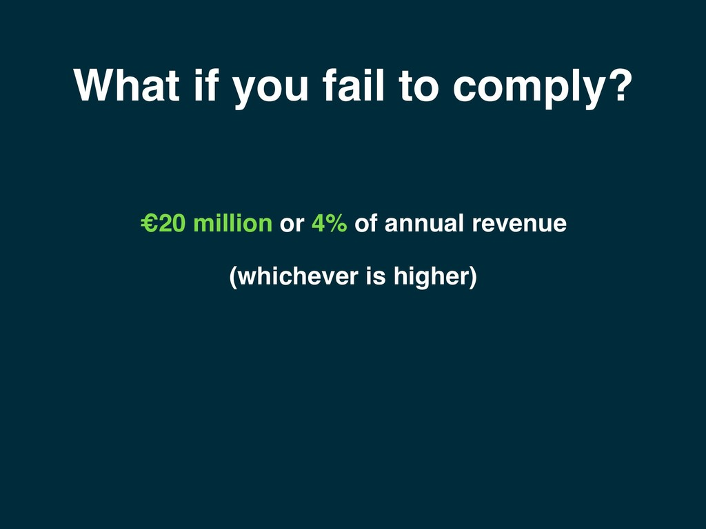What if you fail to comply? €20 million or 4% o...