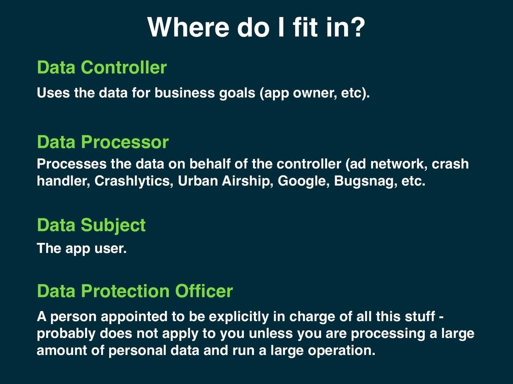 Where do I fit in? Data Controller Data Processo...