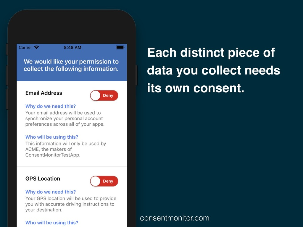 Each distinct piece of data you collect needs i...