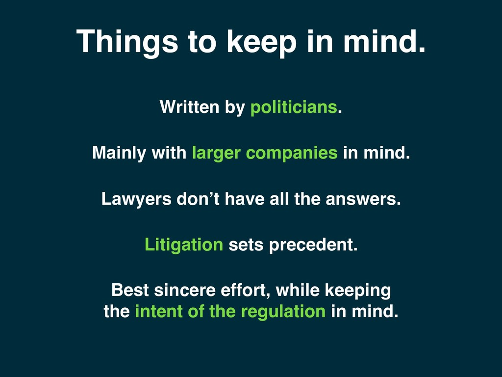 Things to keep in mind. Best sincere effort, wh...
