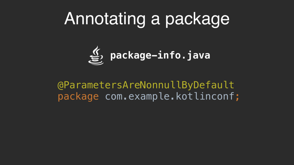 Annotating a package package-info.java @Paramet...