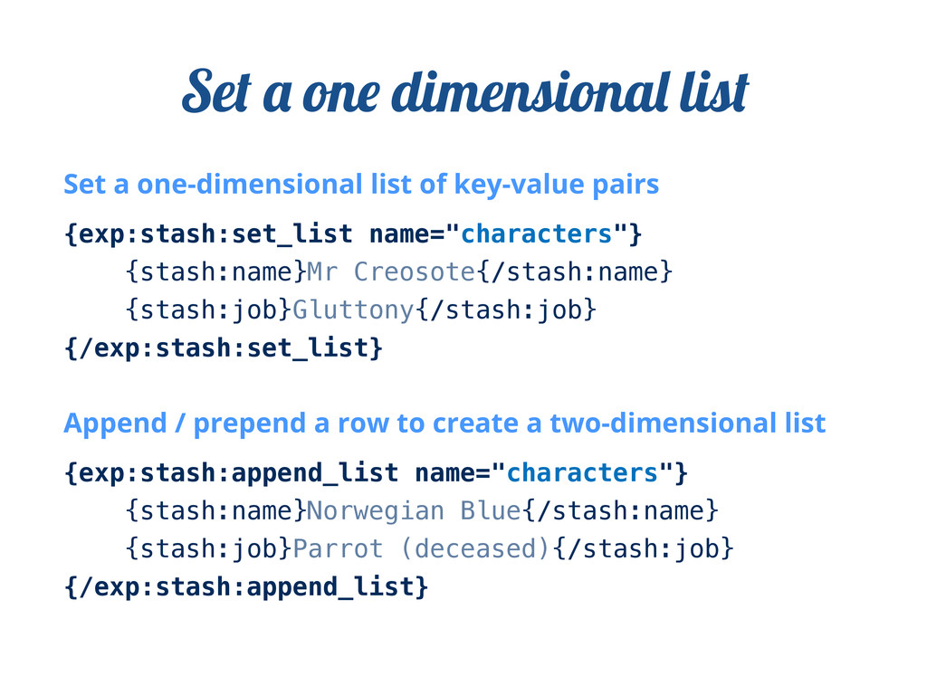 Set a one-dimensional list of key-value pairs {...