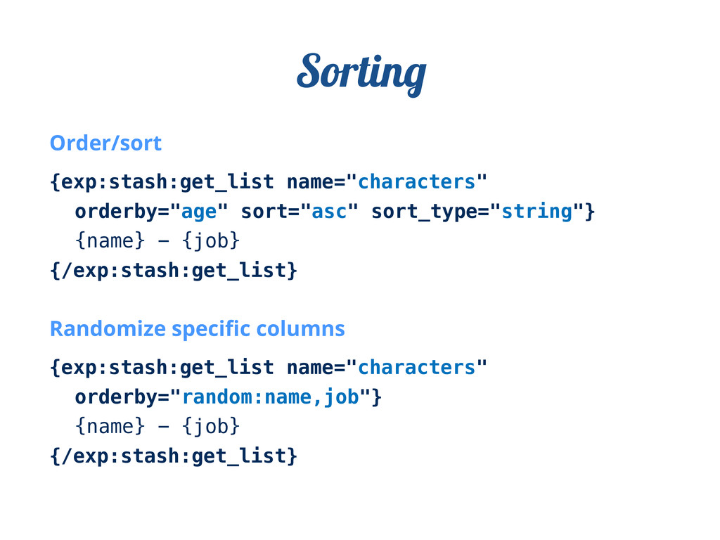 "Order/sort {exp:stash:get_list name=""characters..."
