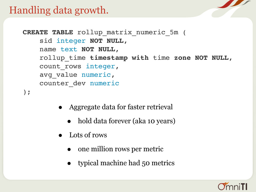 Handling data growth. CREATE TABLE rollup_matri...