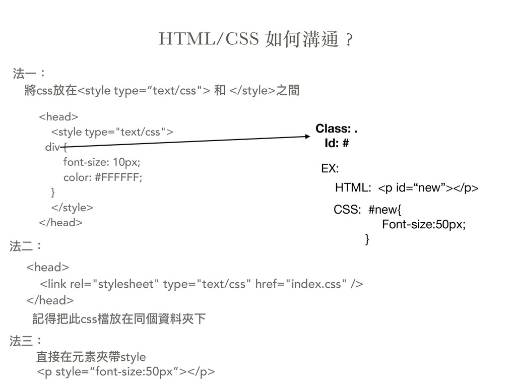 """HTML/CSS  <head> <style type=""""text/css""""> ..."""