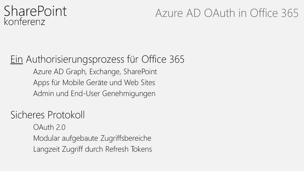 Ein Authorisierungsprozess für Office 365 Azure...