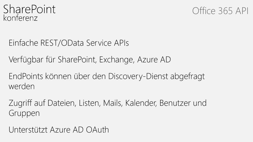 Einfache REST/OData Service APIs Verfügbar für ...