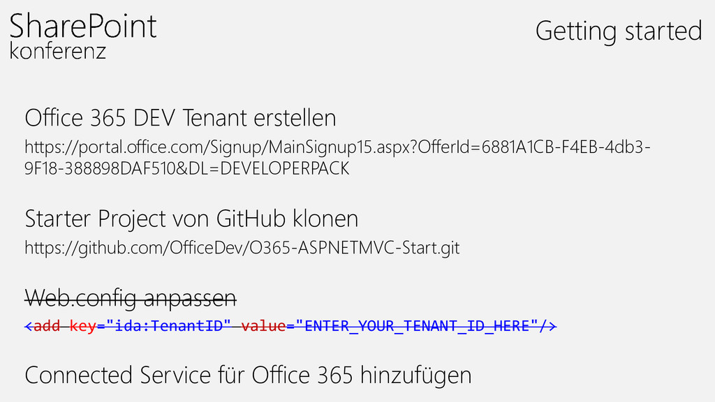 Office 365 DEV Tenant erstellen https://portal....
