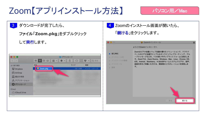 ダウンロードが完了したら、 ファイル「Zoom.pkg」をダブルクリック して実行します。 3...